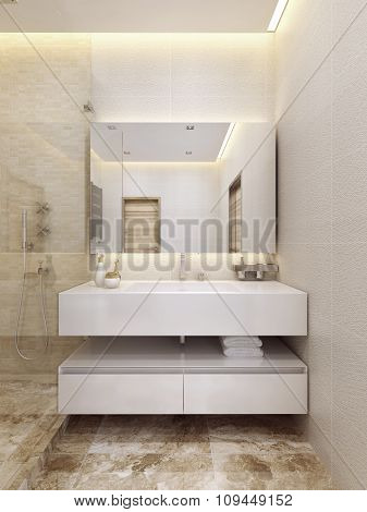 Contemporary Sink Console In White Color With A Shelf.