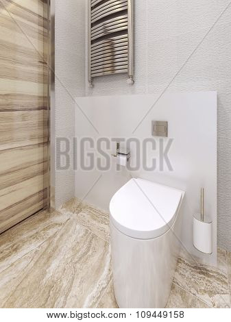 Toilet Room In A Modern Style. Beige And Yellow.