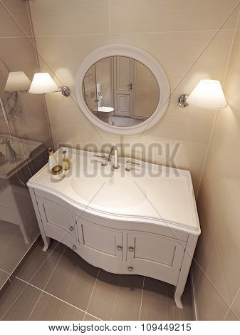 Bathroom Vanites In Beige Color, Classic Design.
