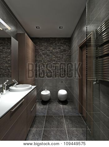 A Bathroom In Modern Style.