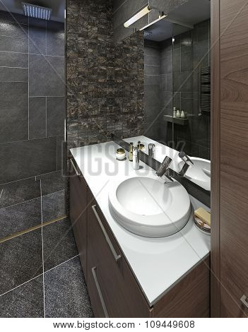 Wash Basin In Modern White Bathroom.