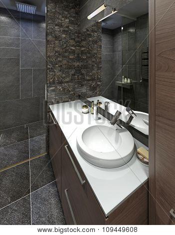Wash Basin In Modern White Bathroom.