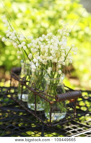 Lily Of The Valley In Bottles Outdoors