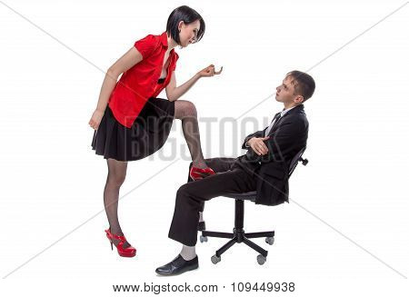 Woman and man sitting