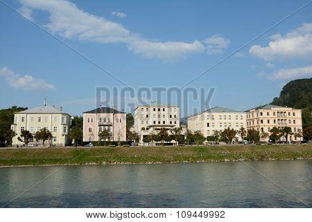 Buildings At Salzach River In Salzburg In Austria