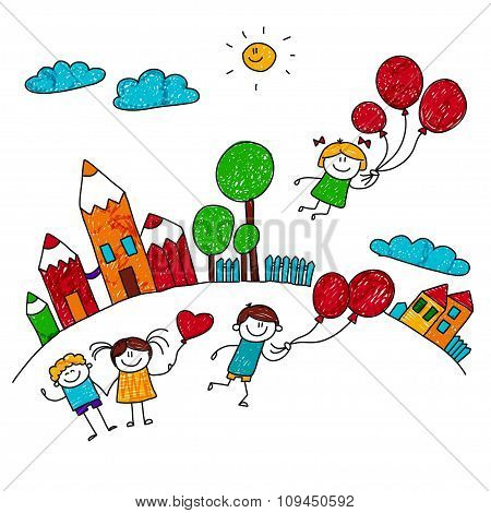 Vector illustration of happy kids.