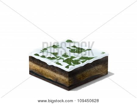 3d illustration of section of winter land with grass under snow