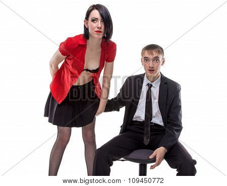 Woman and man with his hand under skirt