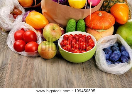 Fruits and vegetables on table