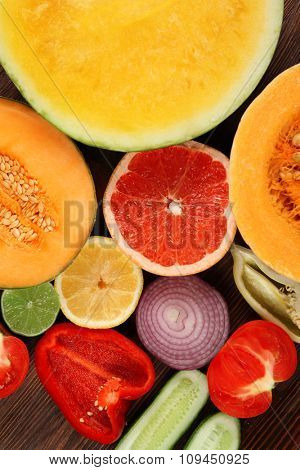 Bright close-up background of fruit and vegetables