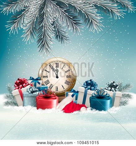 Winter background with presents and clock. Vector.