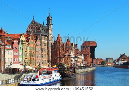 Motlawa River Embankment In Downtown Gdansk