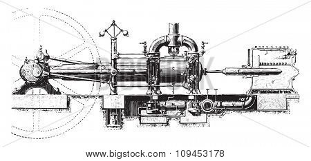 View of the Corliss machine, vintage engraved illustration. Industrial encyclopedia E.-O. Lami - 1875.