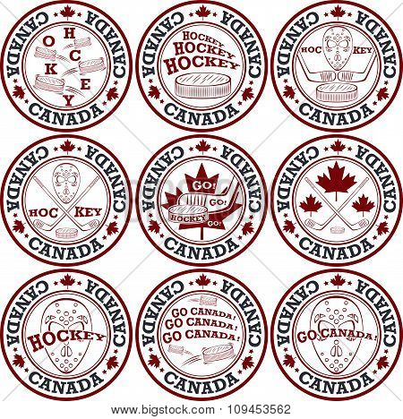Canadian Hockey Stamp Set.