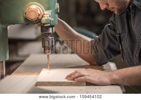 Carpenter Working With Precision