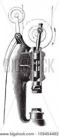 Compressed air hammer Mr. Piat, vintage engraved illustration. Industrial encyclopedia E.-O. Lami - 1875.