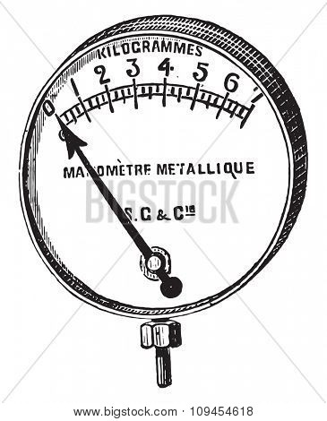 Manometer, Bourdon, a metal ring, vintage engraved illustration. Industrial encyclopedia E.-O. Lami - 1875.