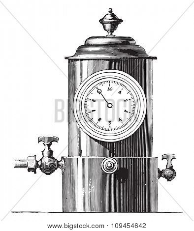 Small dial gauge for gas plant, vintage engraved illustration. Industrial encyclopedia E.-O. Lami - 1875.
