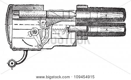 Longitudinal section of the Hotchkiss gun-revolver mechanism, vintage engraved illustration. Industrial encyclopedia E.-O. Lami - 1875.