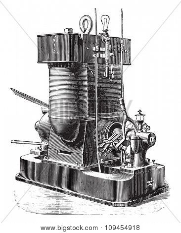 Edison machine 60 lamps, vintage engraved illustration. Industrial encyclopedia E.-O. Lami - 1875.