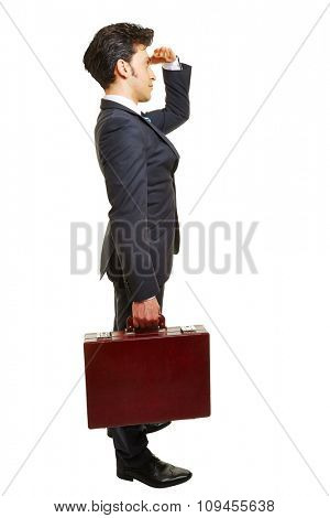 Business man with briefcase looking forward for motivation isolated on white
