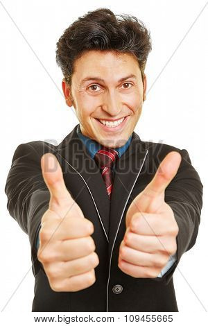 Cheering businessman holding both of his thumbs up