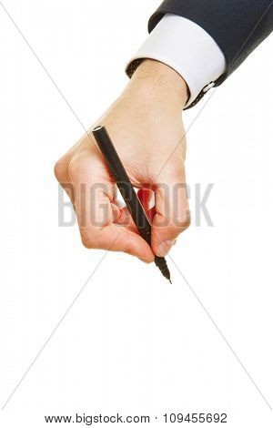 Hand of a business man writing with a black pen