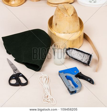 Felt Hood, Wooden Dummy And Tools For Millinery