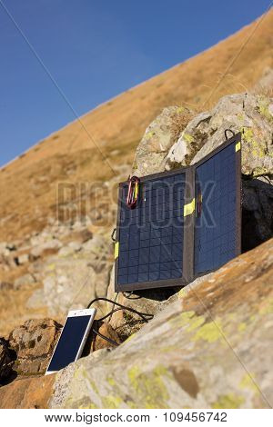 Solar panel in the mountains.