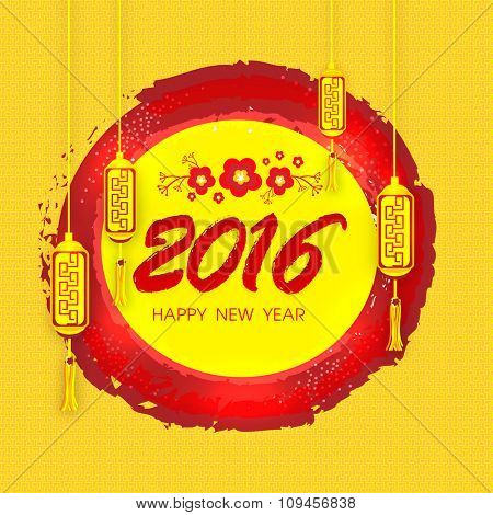 Greeting card design with beautiful traditional lanterns hanging on stylish background for Happy New Year 2016 celebration.