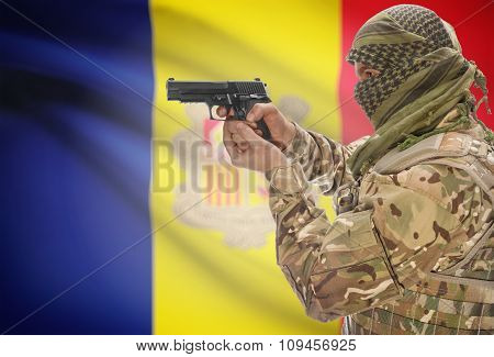 Male In Muslim Keffiyeh With Gun In Hand And National Flag On Background - Andorra