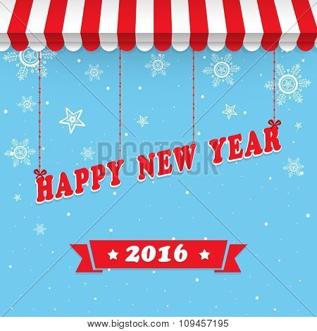 Stylish text Happy New Year 2016 hanging by awning on snowflakes decorated background.