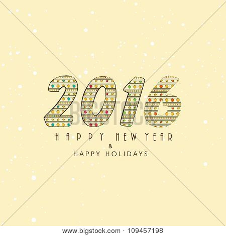 Greeting card design for Happy New Year 2016 celebration.