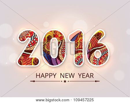 Colorful floral design decorated stylish text 2016 on shiny background for Happy New Year celebration.