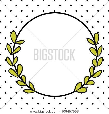 Laurel wreath vector frame with black polka dots on white background