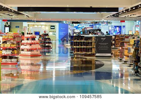 DUBAI, UAE - NOVEMBER 16, 2015: interior of Dubai Duty Free. Dubai Duty Free is the largest single airport retail operation in the world