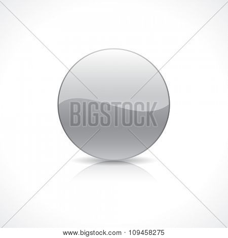 Shiny round silver button on reflection plate