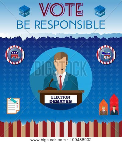 Usa Presidential Election Be Responsible Banner