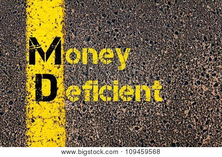 Business Acronym Md As Money Deficient