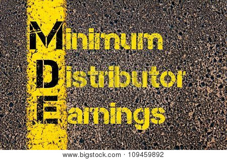 Business Acronym Mde As Minimum Distributor Earnings