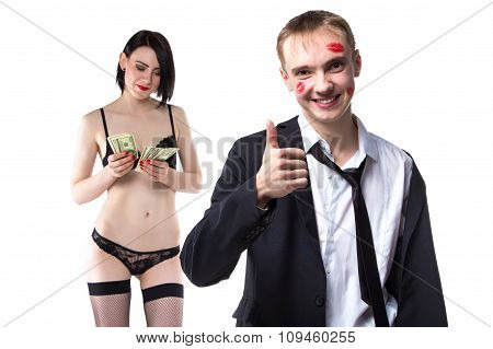 Man with thumb up and woman counting money