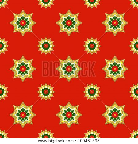 Fractal Christmas Stars On Red, Raster Seamless Pattern