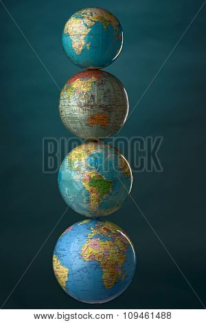 globes stuck upon each other