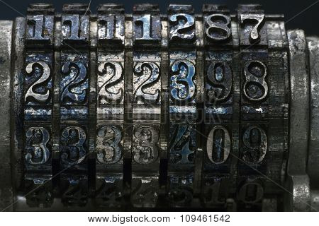 grunge metal stamp numbers