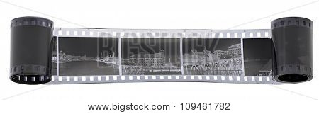 black and white film negative w/clipping path