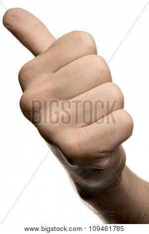 a hand showing thumbs up or hitchhiking