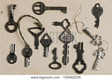 collection of old rusty keys