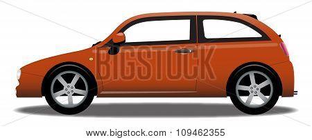 Hatchback Orange Car In Detail
