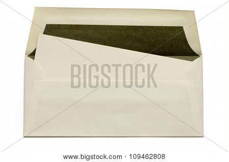 yellow envelope with card  on white