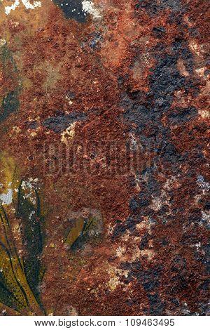 textured rust surface on a tin box